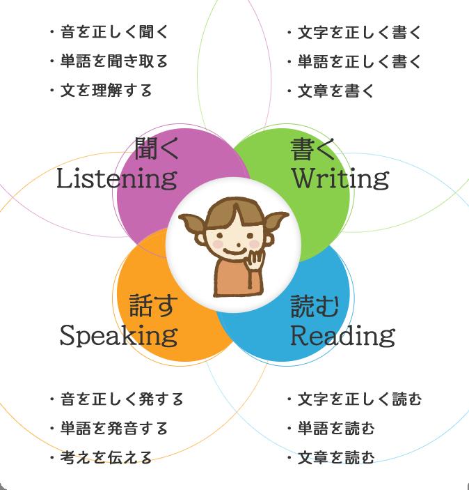 ・音を正しく聞く・単語を聞き取る・文を理解する聞くListening 書く Writing・文字を正しく書く・単語を正しく書く・文章を書く・音を正しく発する・単語を発音する・考えを伝える話すSpeaking読むReading・文字を正しく読む・単語を読む・文章を読む